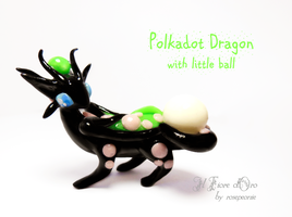 Polkadot dragon with little ball by rosepeonie