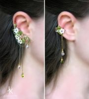Ear cuffs Rain in the apple orchard 2 by JSjewelry