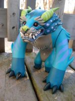 Custom Foo Dog toy- blue by missmonster