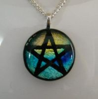 Pentagram Fused Glass Pendant by HoneyCatJewelry