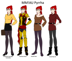 MM! AU Pyrrha outfits by Soundwave3591
