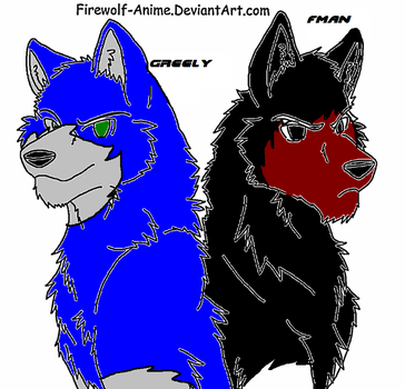 Wolf Brothers Lineart By Firewolf Anime-d3cnlc by wolfguardian24