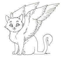 "Winged Kitty ""Inked"" by howling00greywolf"