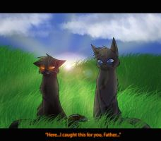 Crowfeather and Breezepelt (Father's Day Pic) by Hykura23