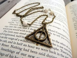 Gears and Deathly Hallows Necklace by CheleKat