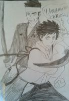 KHR Yamamoto Takeshi and his dad by Bluedragoncartoon