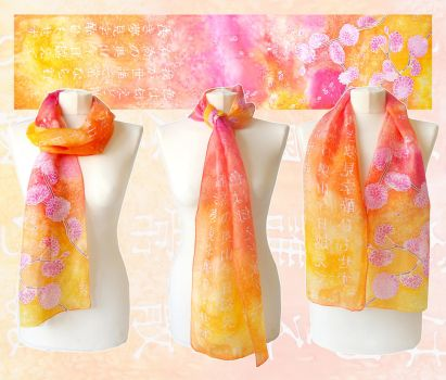 Ume scarf with Japanese poem by MinkuLul