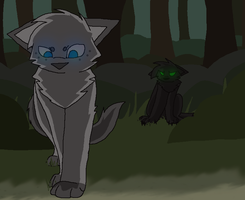 Hollyleaf and Ashfur by Etched-Heart
