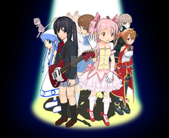 a sudden character meetup- Azusa, Madoka, + others by superslinger2007