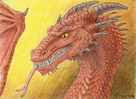 Smirking Dragon ACEO by Strecno