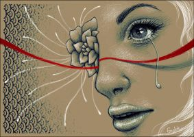 Teardrops under the red thread by Emystick