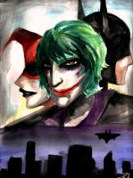 Joker, Batman, and Harely Quinn by idont0know