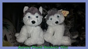 Aurora Plush Huskies Stormy and Unknown 16in by Vesperwolfy87