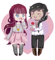 Crayon Chibi Commission | Aly and Ricky by xwanwan