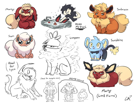 tpp sketches (mostly flareon) by Wolframclaws