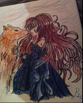 wolf and lady by Lexy-Wolf