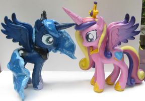6 in mlp Customs FiM Princess Luna, Cadence figs by alltheApples