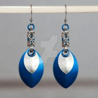 Scale and Byzantine Blue Earrings by chef-chad