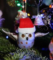 Owl on the Christmas tree! by mockingbirdontree