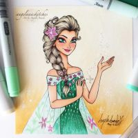 Elsa Frozen Fever (Marker Only) by angelaaasketches