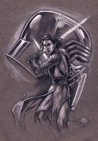 Kylo Ren on gray tone paper 11X14 inch - for sale by Bella-Rachlin