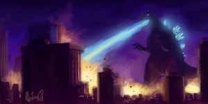 Godzilla Finished Sketch by rafaelventura