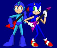 Mega Man and Sonic by CaseyDecker