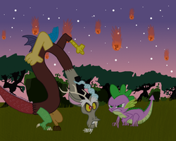 Spike vs Discord by Daedric-Pony