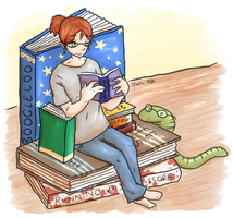 Bookworm by wolfie-janice