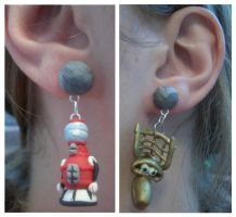 MST3K earrings by estranged-illusions