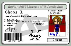 Deviant Licence Card: Chaos X by ChaosX03
