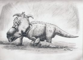 Pachyrhinosaurus Mudbath by DinoHunter000