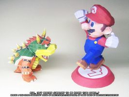 Paper Mario vs Paper Bowser by ninjatoespapercraft