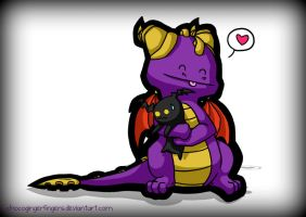 Spyro Hugs a Heartless by chocogingerfingers