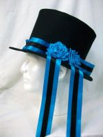 Blue Roses Top Hat by MaskedMenoly