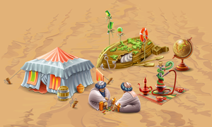 Objects for flash game Fishdom. Location  Oasis by GruberJan