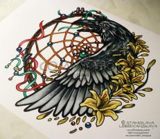 Positive Raven with Dreamcatcher by Stanislava-Korn