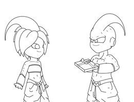 Uncolored Majin Couple by HigashiKaioshin