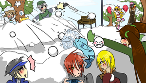 Snow Ball Fight! by OkayIlie