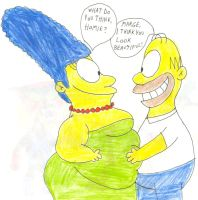Homer and Fat Marge by SithVampireMaster27