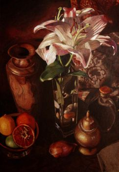 White Lily Still LIfe by HalfBloodDragon