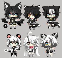 Monochromatic Shotas! - Offer to adopt 2 - CLOSED by Ayuki-Shura-Nyan