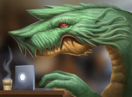 Dragon at a Coffee Shop by SketchMonster1