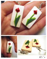 Origami flowers earrings by alisa-grevtsova