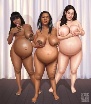 The Pregnant Three Graces (Commission) by nickonthedraw