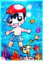 Simple  Chibi Commission Ness under Water for by TaSaMaBi