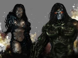 Darkness and Witchblade by GarroteFrancell