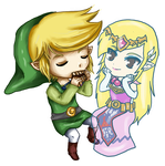 Chibi Link and Zelda Spirit T by leziith