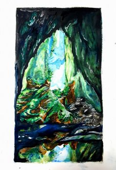Through the cave by Violently-Chaotic