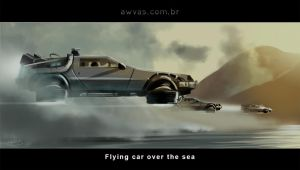 Flying car over the sea by AWVAS